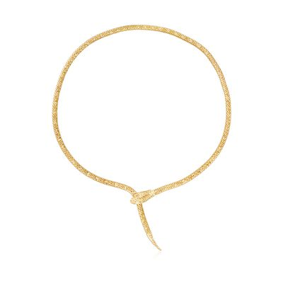 Italian 18kt Gold Over Sterling Silver Diamond-Cut Snake Necklace, , default