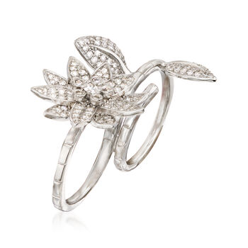2.52 ct. t.w. CZ Floral Two-Finger Ring in Sterling Silver. Size 5, , default