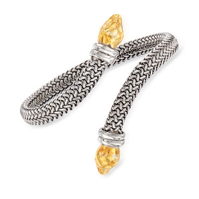 Italian Snakehead Bypass Bracelet in Sterling Silver and 18kt Gold Over Sterling, , default