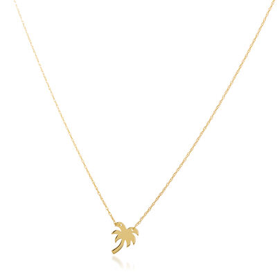 14kt Yellow Gold Mini Palm Tree Necklace