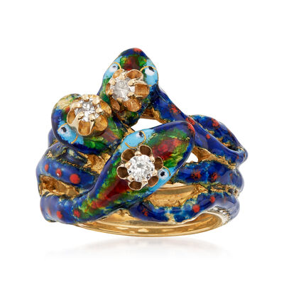 C. 1970 Vintage .25 ct. t.w. Diamond Snake Ring with Blue and Red Enamel in 14kt Yellow Gold, , default