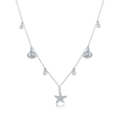 .20 ct. t.w. CZ Sealife Charm Necklace in Sterling Silver, , default