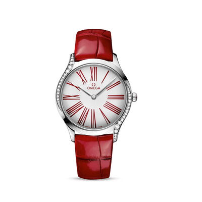 Omega De Ville Tresor Women's 36mm Stainless Steel Watch with Diamonds and Red Leather