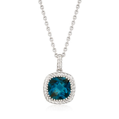 5.00 Carat London Blue Topaz Pendant Necklace in Sterling Silver