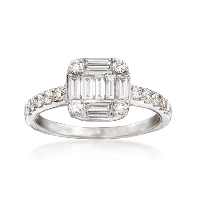 .93 ct. t.w. Round and Baguette Diamond Square-Shaped Ring in 18kt White Gold, , default
