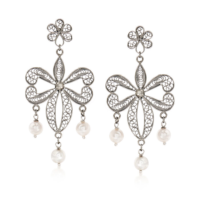 Italian 7mm Cultured Pearl Filigree Drop Earrings in Sterling Silver, , default