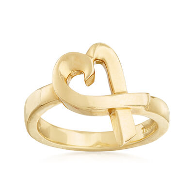"C. 1990 Vintage Tiffany Jewelry ""Paloma Picasso"" Heart Ring in 18kt Yellow Gold, , default"