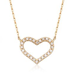 .16 ct. t.w. CZ Heart Necklace in 14kt Yellow Gold, , default
