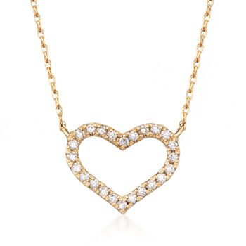 """.16 ct. t.w. CZ Heart Necklace in 14kt Yellow Gold. 18"""", , default"""