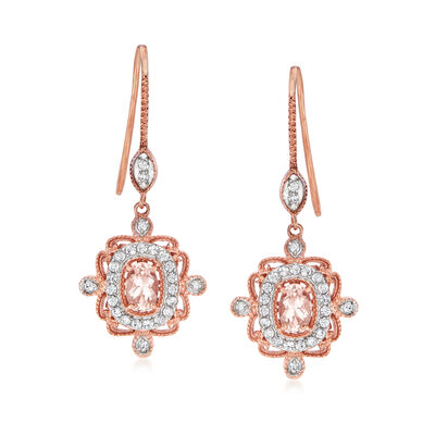 .90 ct. t.w. Morganite and .50 ct. t.w. White Zircon Drop Earrings in 18kt Rose Gold Over Sterling