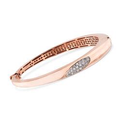 C. 1990 Vintage .35 ct. t.w. Diamond Bangle Bracelet in 18kt Rose Gold, , default