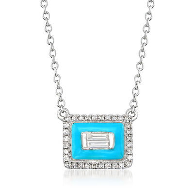 .15 ct. t.w. Diamond Rectangle Necklace with Turquoise Enamel in 18kt White Gold