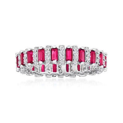 1.00 ct. t.w. Simulated Ruby and .44 ct. t.w. CZ Eternity Band in Sterling Silver