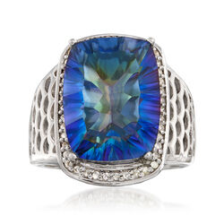 9.50 Carat Blue Quartz and .20 ct. t.w. White Topaz Ring in Sterling Silver, , default