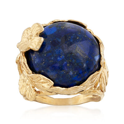 Lapis Cabochon Floral Ring in 18kt Gold Over Sterling, , default