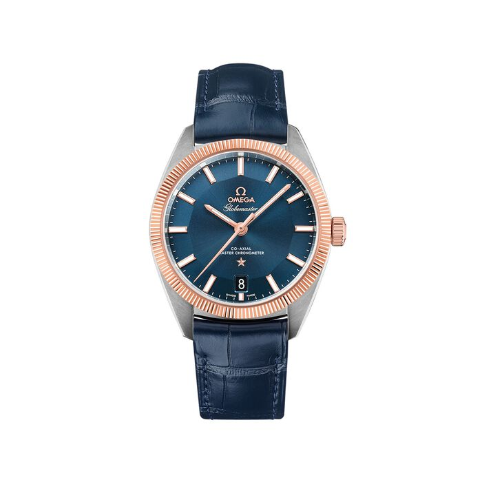 Omega Constellation Globemaster Men's 39mm Stainless Steel and 18kt Rose Gold Watch with Blue Leather Strap , , default