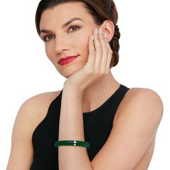 "Green Jade Bangle Bracelet with Sterling Silver. 7"""