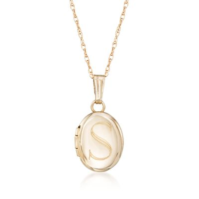 Child's 14kt Yellow Gold Single Initial Oval Locket Necklace, , default