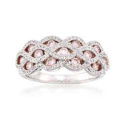 .90 ct. t.w. Pink and White Diamond Braid Ring in 14kt White Gold, , default