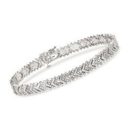1.00 ct. t.w. Diamond Chevron Bracelet in Sterling Silver, , default