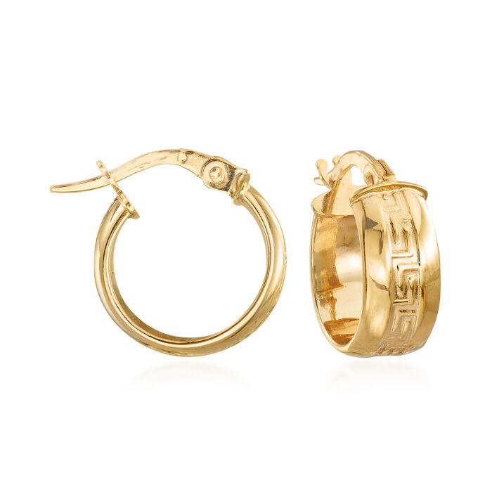 """Italian Greek Key Huggie Hoop Earrings in 14kt Yellow Gold. 1/2"""", , default"""
