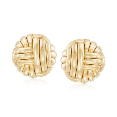 Italian Woven Clip-On Earrings in 14kt Yellow Gold, , default