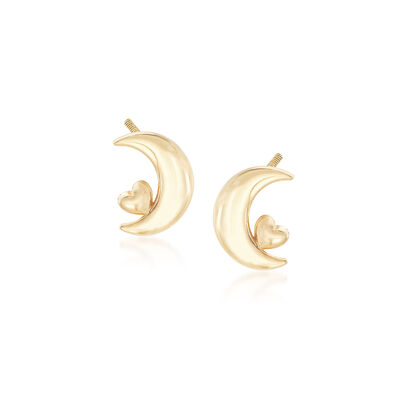 Child's Crescent Moon and Heart Stud Earrings in 14kt Yellow Gold, , default