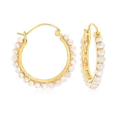 3-3.5mm Cultured Pearl Hoop Earrings in 18kt Gold Over Sterling