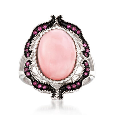 Pink Opal and .30 ct. t.w. Rhodolite Garnet Ring in Sterling Silver, , default