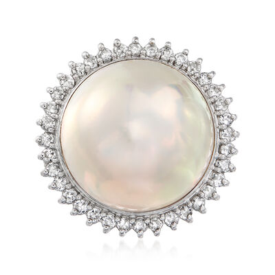 C. 1980 Vintage Cultured Mabe Pearl and .52 ct. t.w. Diamond Ring in Platinum