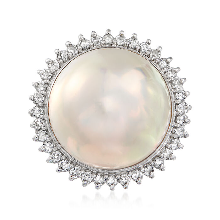 C. 1980 Vintage Cultured Mabe Pearl and .52 ct. t.w. Diamond Ring in Platinum. Size 8