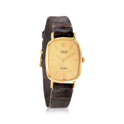 Certified Preowned Rolex Cellini Women's 22mm Manual Watch With Black Leather in 18kt Yellow Gold, , default