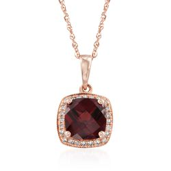 "1.90 Carat Garnet and .10 ct. t.w. Diamond Pendant Necklace in 14kt Rose Gold. 18"", , default"