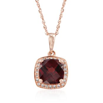 "1.90 Carat Garnet and .10 ct. t.w. Diamond Pendant Necklace in 14kt Rose Gold. 18"", , default"