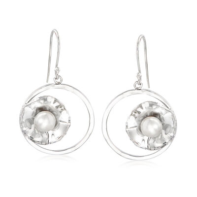 7mm Cultured Pearl Circle Drop Earrings in Sterling Silver, , default