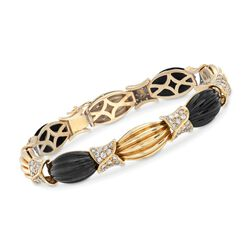 "C. 1980 Vintage Black Onyx and 2.60 ct. t.w. Diamond Ribbed Link Bracelet in 18kt Yellow Gold. 7.5"", , default"