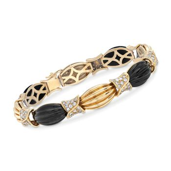 """C. 1980 Vintage Black Onyx and 2.60 ct. t.w. Diamond Ribbed Link Bracelet in 18kt Yellow Gold. 7.5"""", , default"""