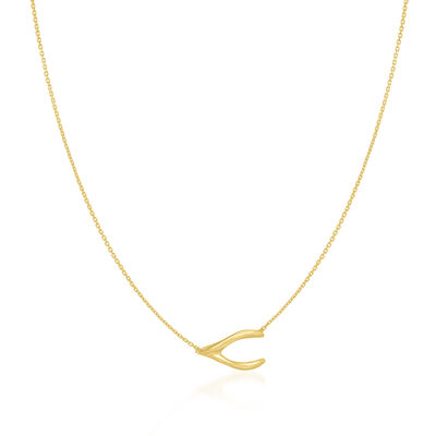 14kt Yellow Gold Wishbone Necklace