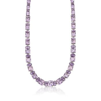 "50.35 ct. t.w. Pink and Purple Amethyst Necklace in Sterling Silver. 18"", , default"