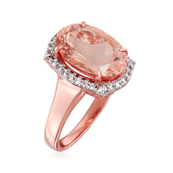 4.60 Carat Morganite and .40 ct. t.w. White Zircon Ring in 14kt Rose Gold