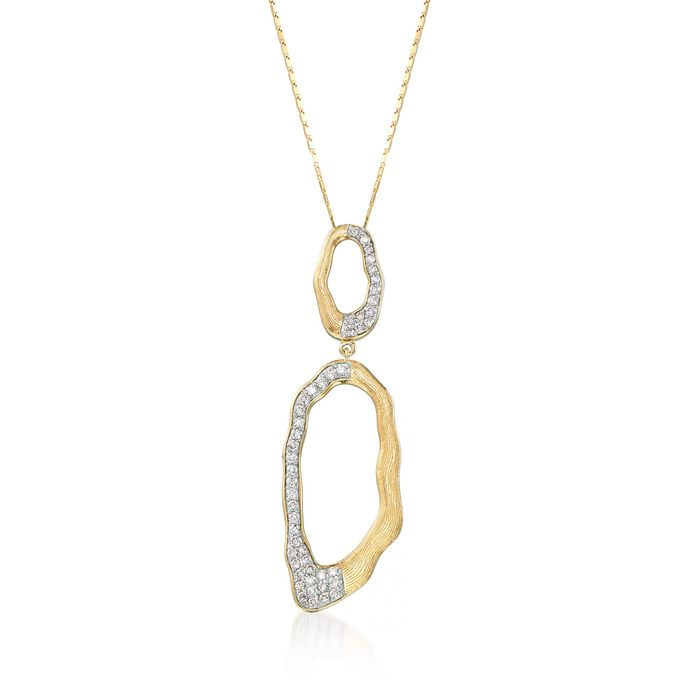 """.75 ct. t.w. Diamond Free-Form Oval Drop Necklace in 14kt Yellow Gold. 18"""", , default"""