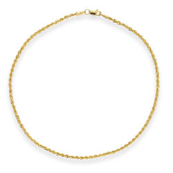 14kt Yellow Gold Hollow Rope Anklet, , default
