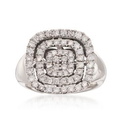 C. 1990 Vintage 1.15 ct. t.w. Pave Diamond Square Ring in 14kt White Gold, , default