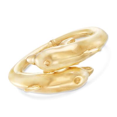 Italian 18kt Gold Over Sterling Dolphin Hinged Bypass Bangle Bracelet, , default