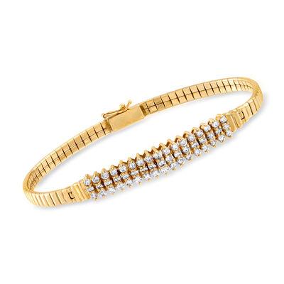 C. 1980 Vintage 1.30 ct. t.w. Diamond Bracelet in 14kt Yellow Gold