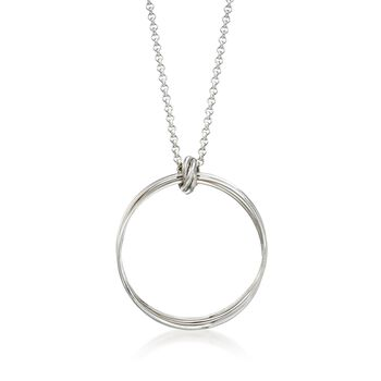 "Zina Sterling Silver ""Contemporary"" Rolling Ring Pendant Necklace. 17"", , default"