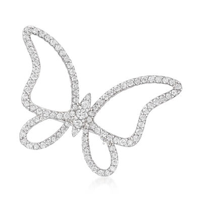 2.00 ct. t.w. Diamond Butterfly Pin in Sterling Silver, , default