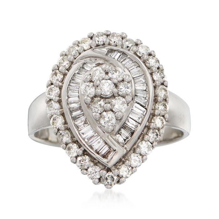 C. 1980 Vintage 1.10 ct. t.w. Diamond Teardrop Ring in 14kt White Gold. Size 7.5