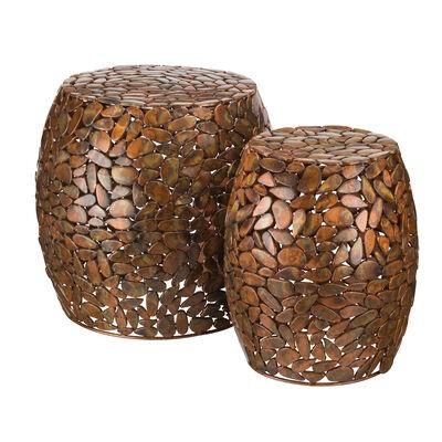 """Regal """"Copper Pebbles"""" Set of 2 Garden Stools, , default"""