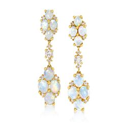 Australian Opal and .50 ct. t.w. Diamond Drop Earrings in 14kt Yellow Gold, , default